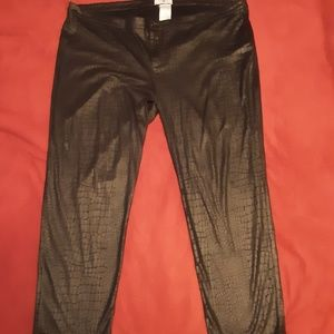 Snakeskin style black pants
